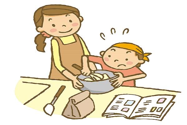 料理の工程を学ぶ子供