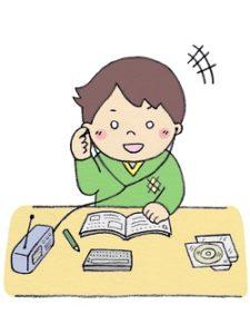 英語ドリルをする小学生