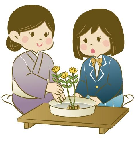 子供の生け花の指導風景