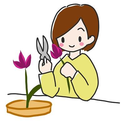 子供の華道・生け花の練習