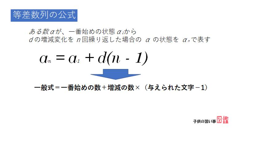 中学数学で使える等差数列の公式