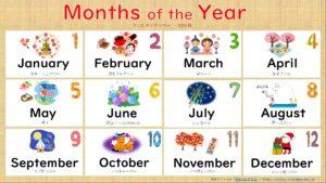 12カ月の無料英語プリント一覧表(読み方付き)