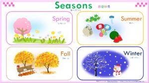 季節(春・夏・秋・冬)の無料英語プリント一覧表(読み方付き)