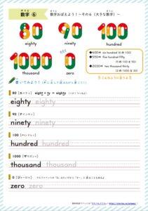 1000など大きな数字の英単語練習プリント