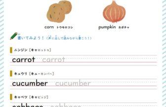 食べ物の英単語学習プリント