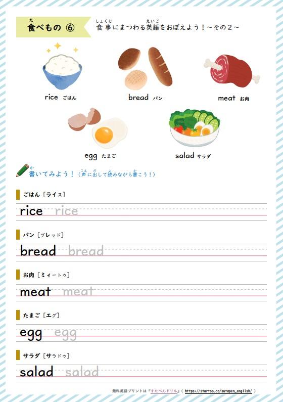 食べ物の英単語プリント