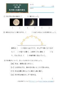 月の形と位置の変化(問題)
