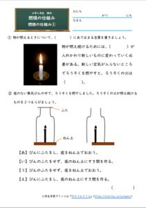 燃焼の仕組み①の無料学習プリント・練習問題