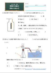 燃焼の仕組み②の学習プリント・練習問題