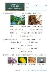 生物と水・空気との関わりの学習プリント・練習問題