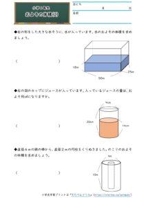 小6およその面積と体積(およその体積)(2)の学習プリント(練習問題・テスト)