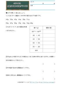 小6データの調べ方(度数分布表と柱状グラフ)(1)の学習プリント(練習問題・テスト)