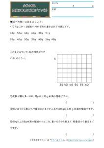小6データの調べ方(度数分布表と柱状グラフ)(3)の学習プリント(練習問題・テスト)