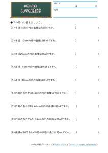 小6円の面積(円の面積)(2)の学習プリント(練習問題・テスト)
