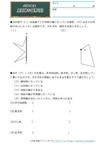 小6対称な図形(点対称な図形)(作図)(6)の学習プリント(練習問題・テスト)